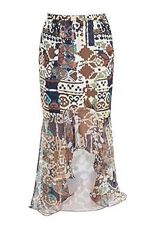 Brown Printed Skirt by Gunu Sahni
