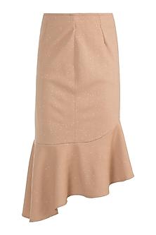 Taupe Brown Asymmetric Frill Skirt by Gunu Sahni