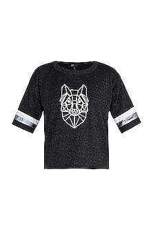 Black Shimmery Embroidered Fox T-Shirt by Gunu Sahni