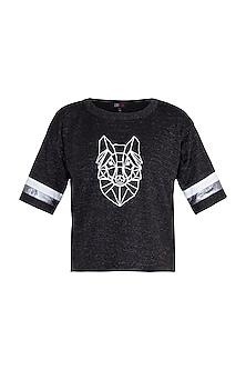 Black Shimmery Embroidered Fox T-Shirt by Gunu Sahni