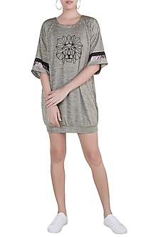 Beige Lion Embroidered T-Shirt Dress by Gunu Sahni