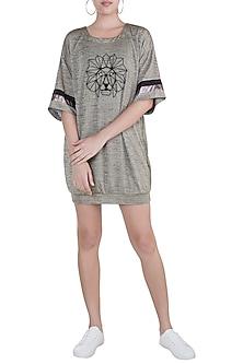 Beige Lion Embroidered T-Shirt Dress by Gunu Sahni