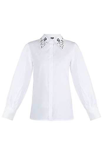 White Embroidered Sequins Shirt by Gunu Sahni