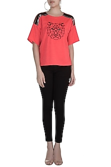Coral Shimmer Embroidered T-Shirt by Gunu Sahni