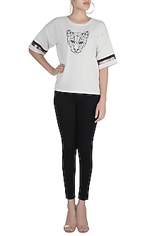 Ivory Shimmer Embroidered T-Shirt by Gunu Sahni