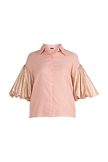 Peach Shirt With Shimmery Sleeves by Gunu Sahni