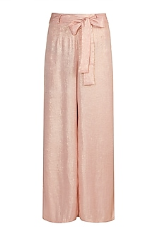 Peach Shimmery Palazzo Pants With Tie-Up Belt by Gunu Sahni
