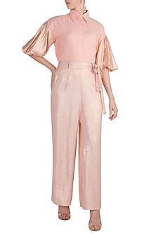 Peach Shimmery Palazzo Pants With Tie-Up Belt by Gunu Sahni