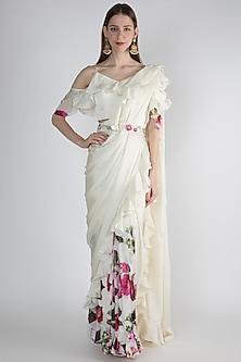 White Printed Saree Set With Embroidered Belt by Gunu Sahni