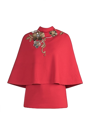 Red embroidered cape by GUNU SAHNI