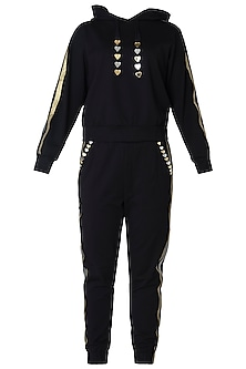 Black metallic tracksuit by GUNU SAHNI