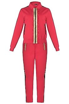 Red metallic jacket tracksuit by GUNU SAHNI