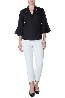 Black embellished shirt by GUNU SAHNI