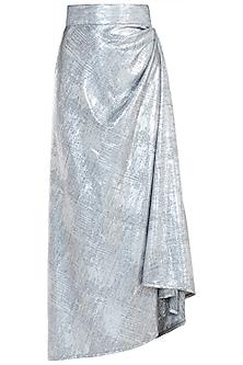 Silver drape skirt by GUNU SAHNI