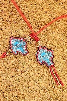 Blue & Red Embroidered Handmade Rakhis (Set of 2) by Gonecase-SEND RAKHIS TO USA