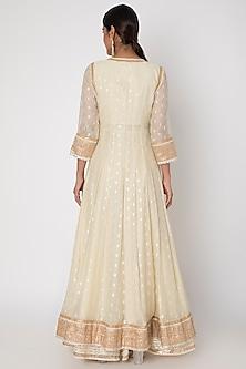 White Embroidered Jacket Anarkali Set by GOPI VAID
