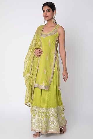 Lime Green Embroidered Kurta Set by GOPI VAID