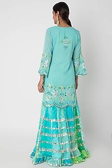 Blue & Green Embroidered Sharara Set by GOPI VAID