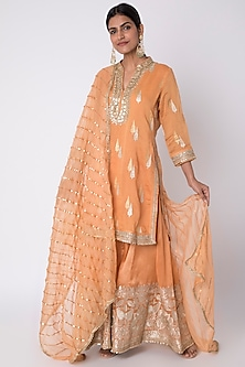 Orange Embroidered Sharara Set by GOPI VAID