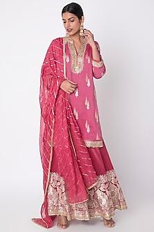 Rani Pink Embroidered Sharara Set by GOPI VAID-READY TO SHIP