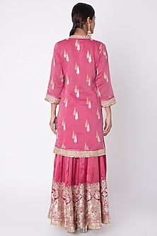 Rani Pink Embroidered Sharara Set by GOPI VAID