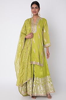 Mint Green Embroidered Sharara Set by GOPI VAID