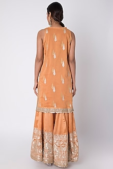 Orange Embroidered Kurta Set by GOPI VAID