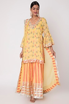 Yellow Floral Printed Sharara Set by GOPI VAID