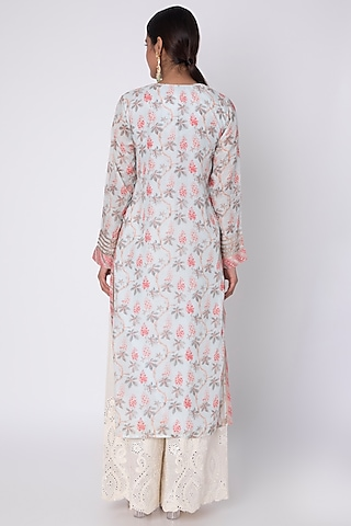 Powder Blue Embroidered Tunic by GOPI VAID