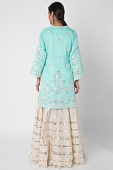 Turquoise Embroidered Sharara Set by GOPI VAID