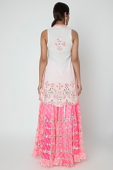 White & Pink Embroidered Leheriya Sharara Set by GOPI VAID