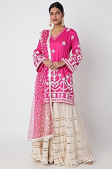 Rani Pink Embroidered Leheriya Sharara Set by GOPI VAID