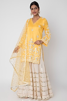 Yellow Resham Embroidered Sharara Set by GOPI VAID