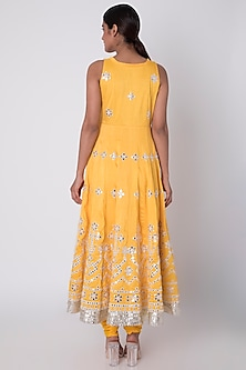 Yellow Embroidered Anarkali Set by GOPI VAID