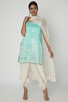Turquoise Embroidered Kurta Set by GOPI VAID