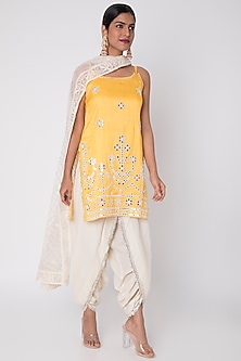Yellow Embroidered Kurta Set by GOPI VAID