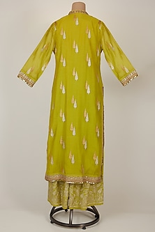 Leaf Green Embroidered Kurta With Pants by GOPI VAID