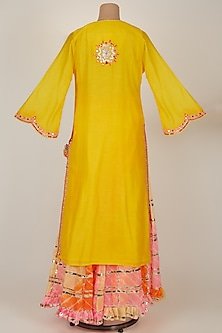 Yellow Embroidered Kurta With Sharara Pants by GOPI VAID