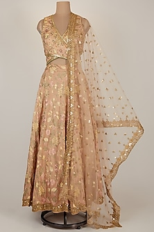 Peach Thread Embroidered Lehenga Set by GOPI VAID