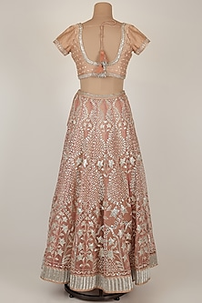 Peach Embroidered Lehenga Set by GOPI VAID