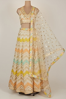 White Zig Zag Embroidered Lehenga Set by GOPI VAID