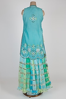 Blue Embroidered & Tie-Dye Sharara Set by GOPI VAID