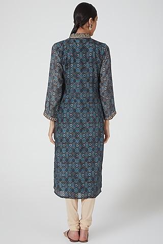Cobalt Blue Printed & Embellished Tunic by GOPI VAID