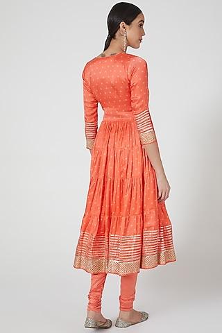Orange Embroidered Tiered Anarkali Set by GOPI VAID