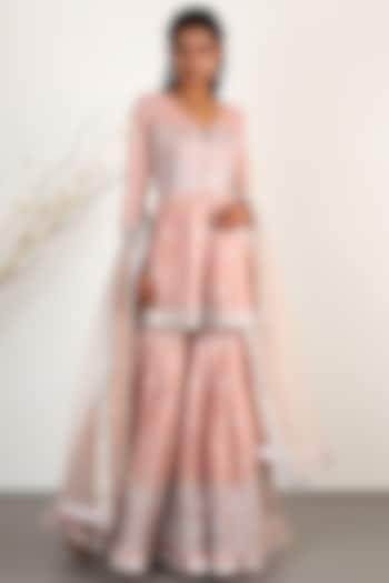 Blush Pink Embroidered Gharara Set by GOPI VAID