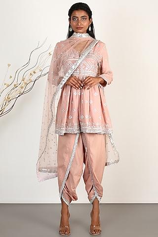 Blush Pink Embroidered Dhoti Set by GOPI VAID
