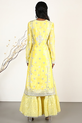 Yellow Embroidered Tunic Set by GOPI VAID