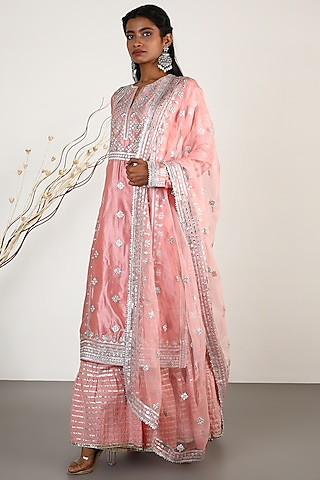 Blush Pink Embroidered Tunic Set by GOPI VAID