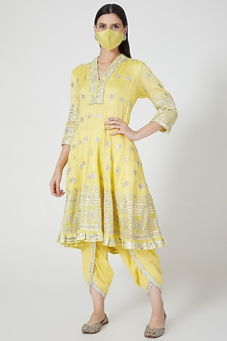Yellow Anarkali Set by GOPI VAID