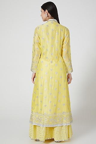 Bright Yellow Embroidered Sharara Set by GOPI VAID